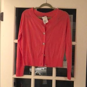 H&M coral/ pink cardigan with rhinestone buttons